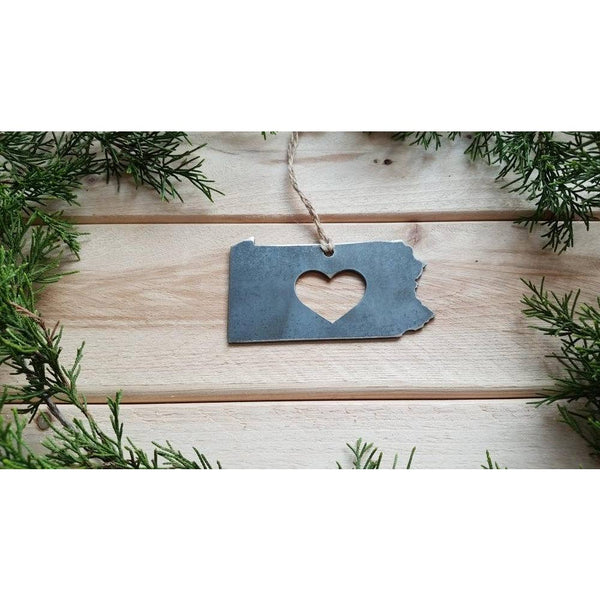Pennsylvania State Rustic Steel Ornament with Heart