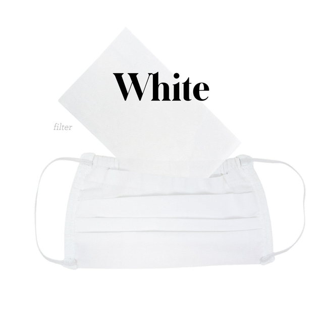 Cotton Fabric Face Mask White with Filter
