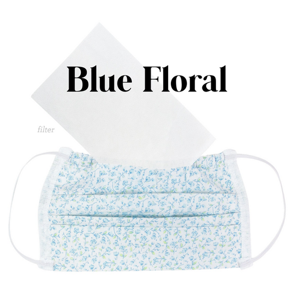 Cotton Fabric Face Mask Blue Floral with Filter