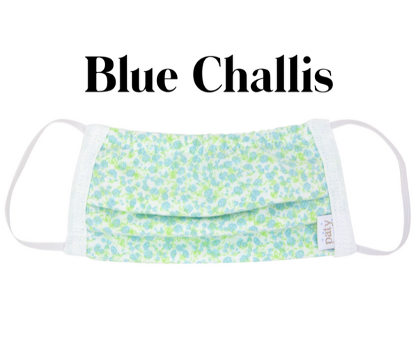 Cotton Fabric Face Mask Blue Challis with Filter