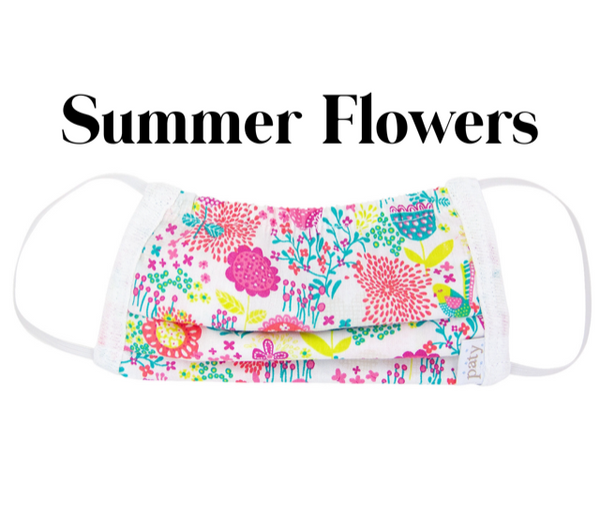 Cotton Fabric Face Mask Summer Flowers with Filter
