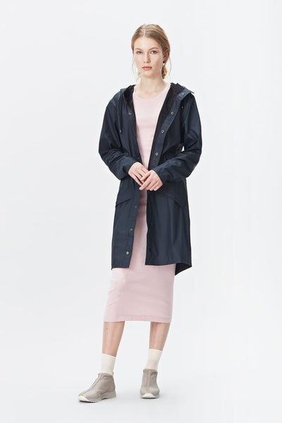 RAINS Long Jacket - Modrá
