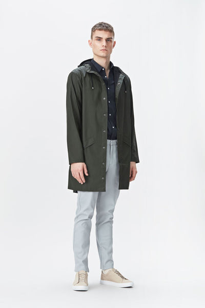 RAINS Long Jacket - Zelená