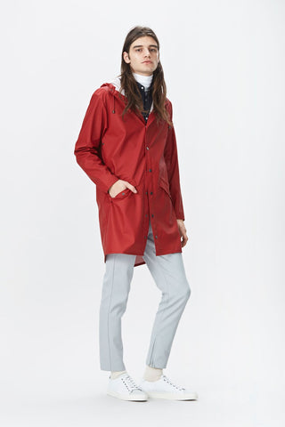 RAINS Long Jacket - Scarlet
