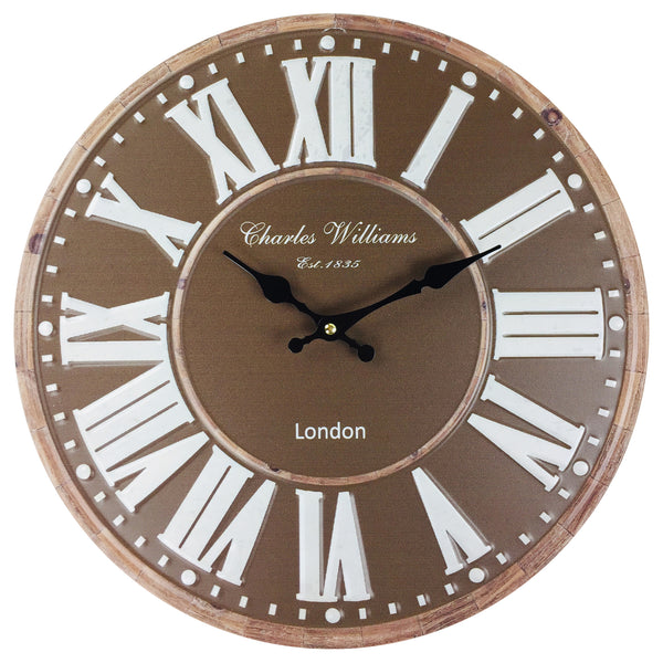 Brown Metal Wall Clock 40cm