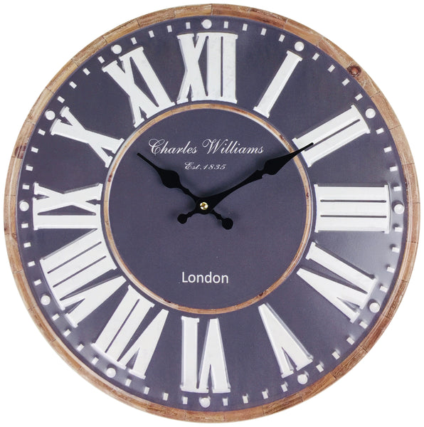 Navy Blue Metal Wall Clock 40cm