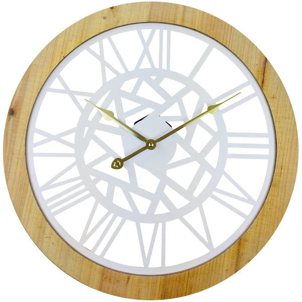 Roman Numeral White Metal Cut Out Wall Clock 45cm