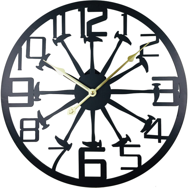 Black Metal Hammer Cut Out Wall Clock 40cm