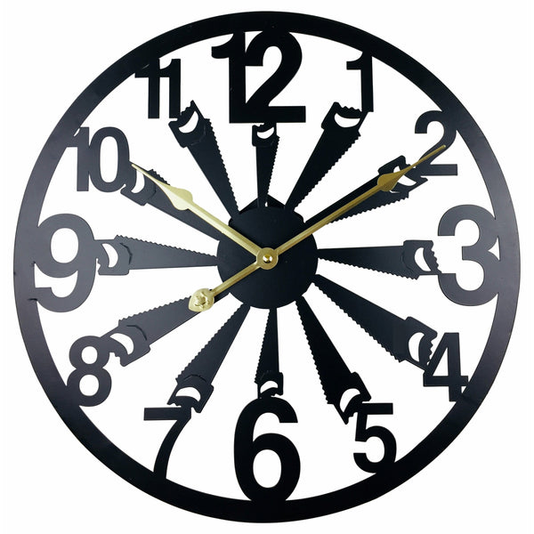 Black Metal Saw Cut Out Wall Clock 40cm