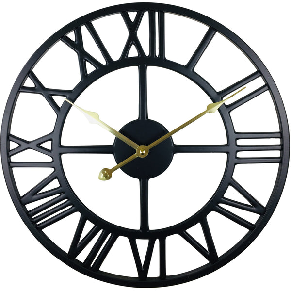 Black Metal Roman Numeral Wall Clock 39cm