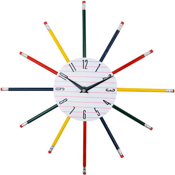 Multi Coloured Stationary Pencil Wall Clock 38cm