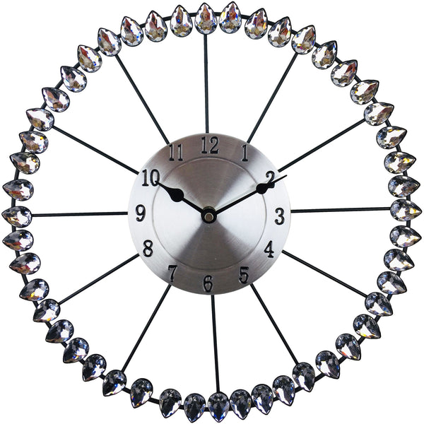 Diamond Effect Metal Wall Clock 36cm