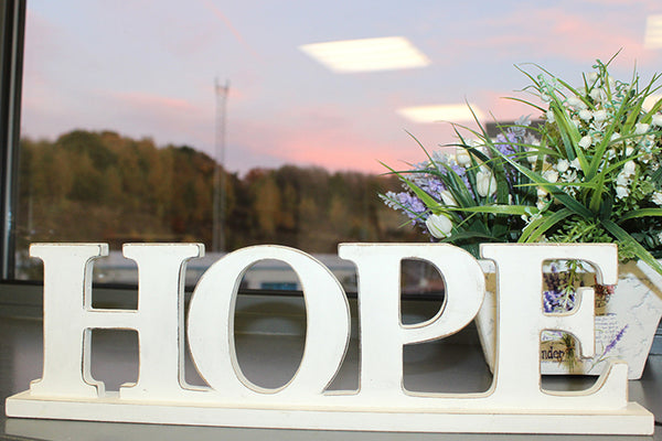 Standing Wooden Words - HOPE - Whitewash