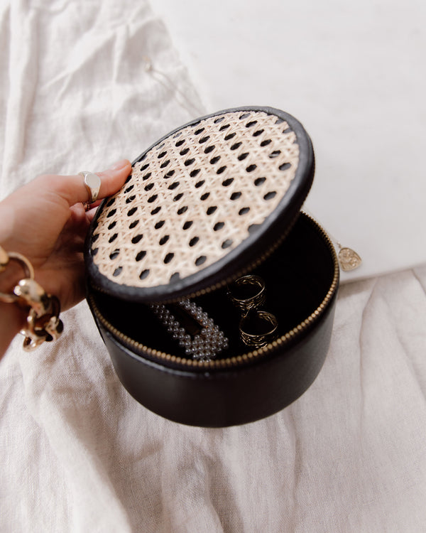 Heather Rattan and Leather Jewelry Box