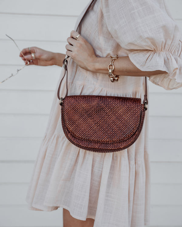 Luna Woven Leather Half Moon Bag