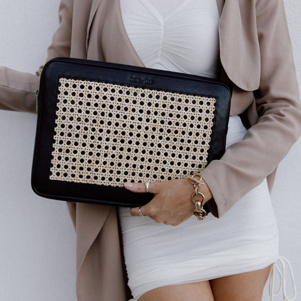 Heather Leather and Rattan Laptop Case