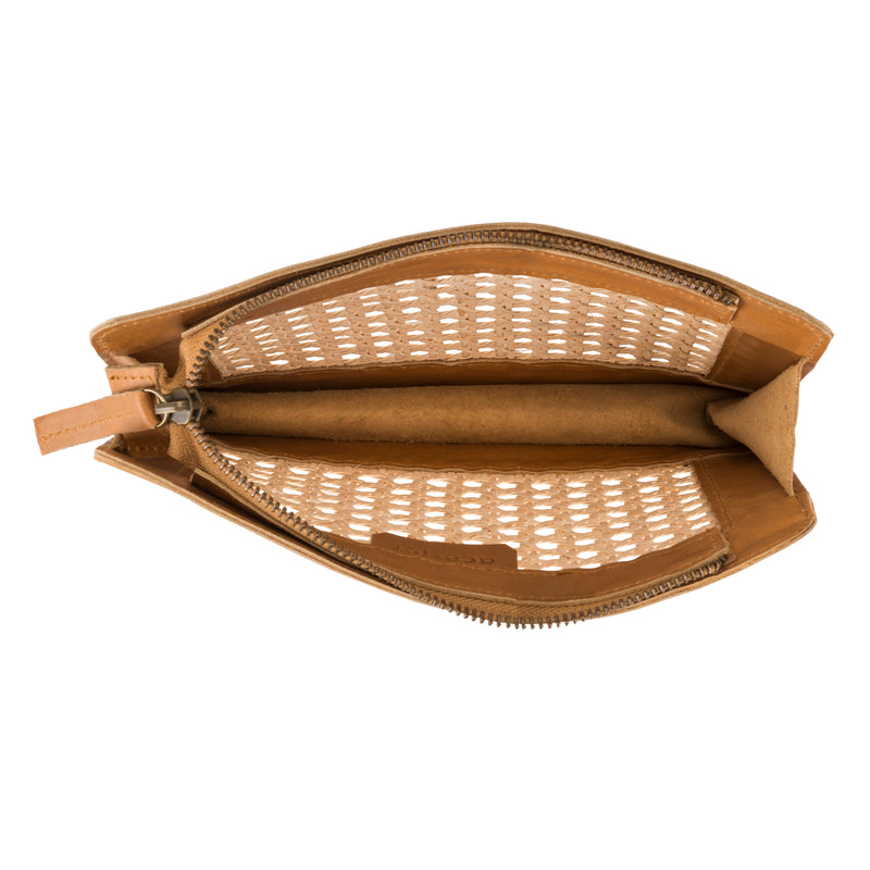 Heather rattan and leather clutch
