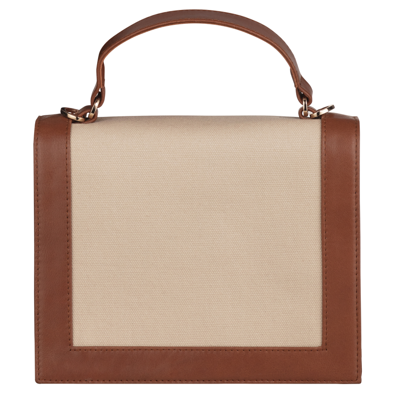 Margot canvas and leather top handle bag