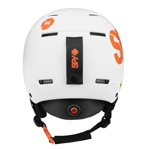 SPY Youth Snow Helmet Lil Astronomic Matte White - Orange Splatter Logo