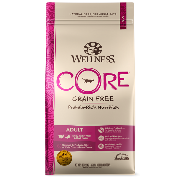 Wellness CORE Grain Free Natural Turkey, Turkey Meal, and Duck Dry Cat Food