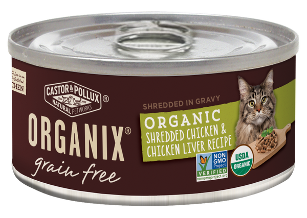Castor and Pollux Organix Grain Free Organic Shredded Chicken and Chicken Liver Canned Cat Food
