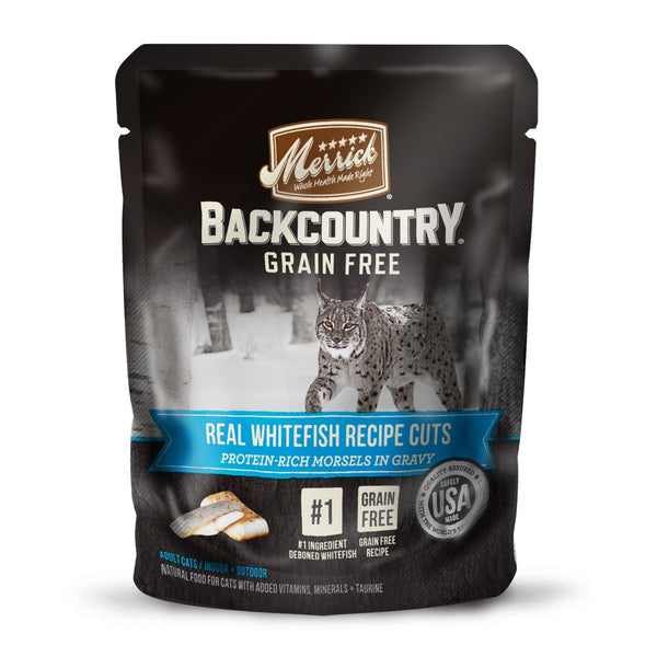 Merrick Backcountry Grain Free Real Whitefish Cuts Recipe Cat Food Pouch