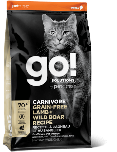 Petcurean GO! Solutions Carnivore Grain Free Lamb & Wild Boar Recipe Dry Cat Food