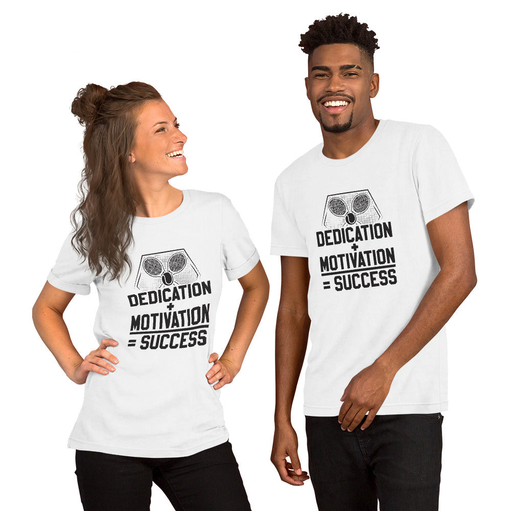 DEDICATION + MOTIVATION = SUCCESS SHORT-SLEEVE UNISEX T-SHIRT