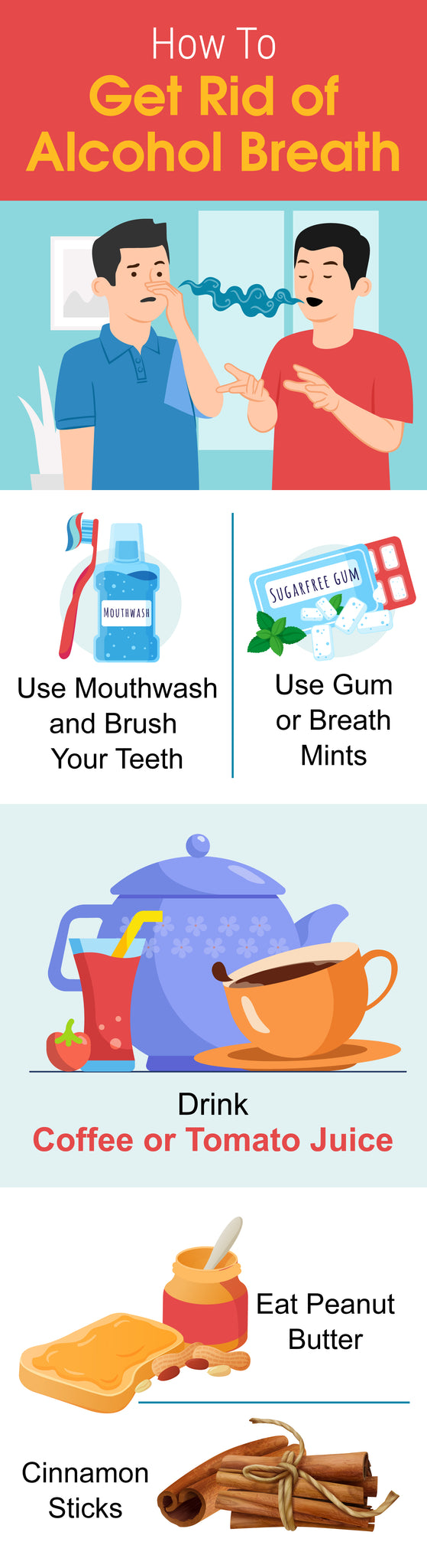 How to get rid of alcohol breath infographic