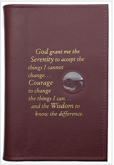 BC02 - Big Book - Brown - Hard Cover W/Coin & Serenity Prayer
