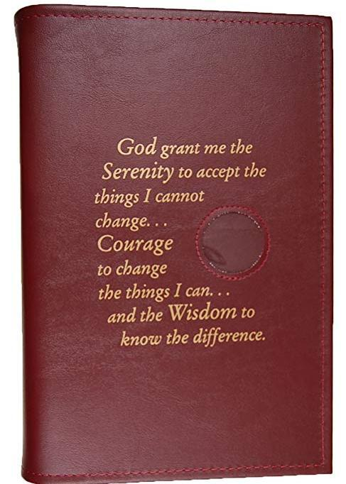 BC02 - Big Book - Burgundy - Hard Cover W/Coin & Serenity Prayer
