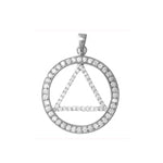 Circle Triangle w CZ's - Pendant
