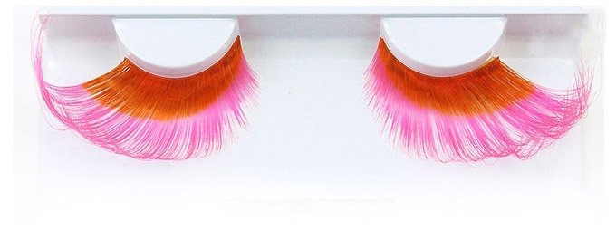 Feather Pink And Orange False Lashes