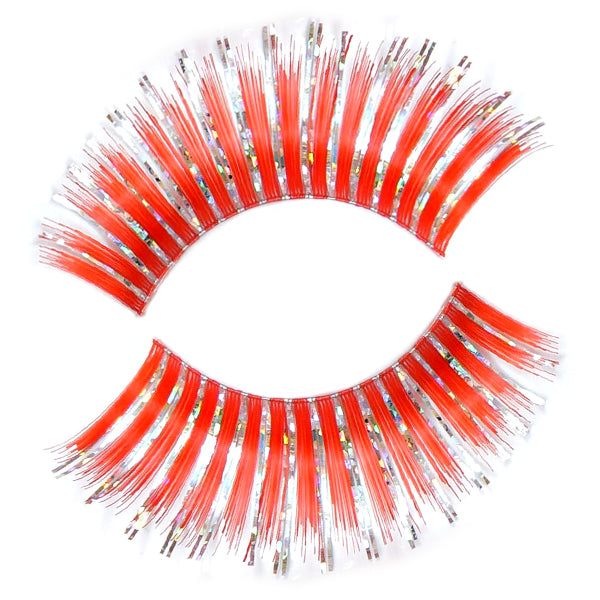 Hologram Red Thin False Lashes