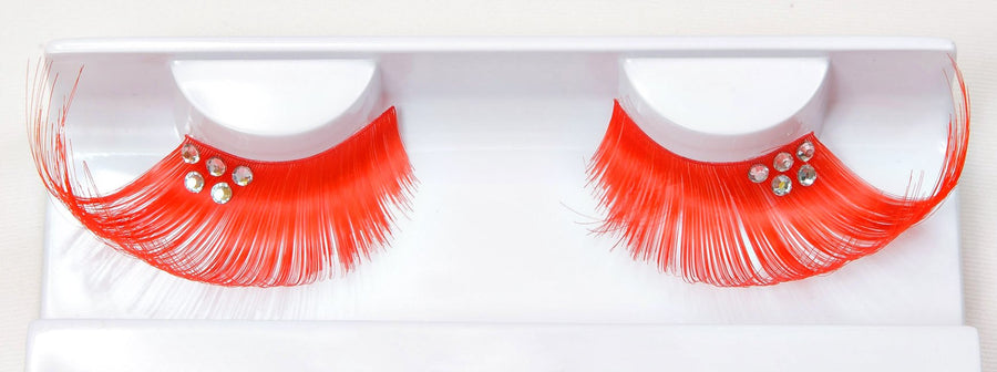 Decorated Orange False Lashes With Studs