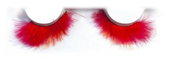 Feather Red With Baby Pink And Orange Tips False Lashes