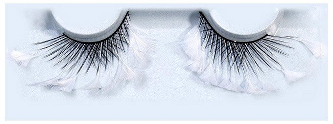 Feather Black Criss-Cross With Snowflake Floret False Lashes