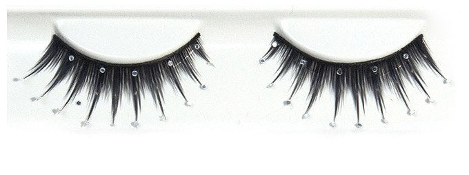 Decorated Black With Sparkling Studs False Lashes