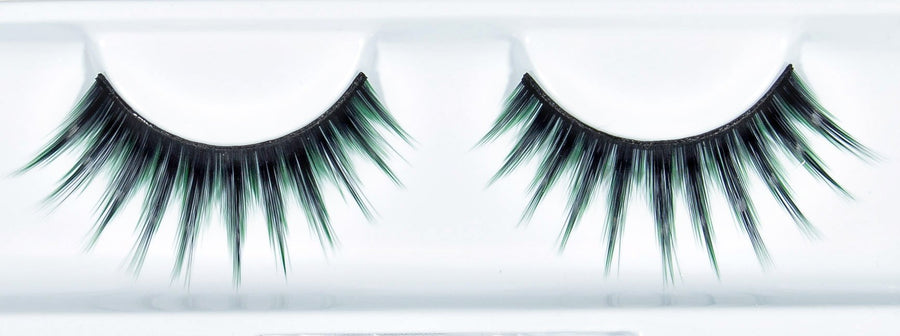 Synthetic Hair Black And Green False Lashes
