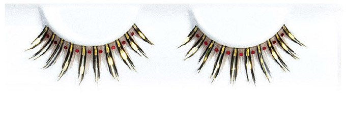 Hologram Gold And Black With Red Stones False Lashes