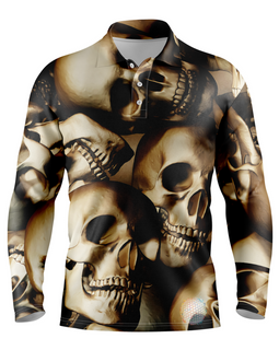 Skull | Mens Long Sleeve S Golf Shirts