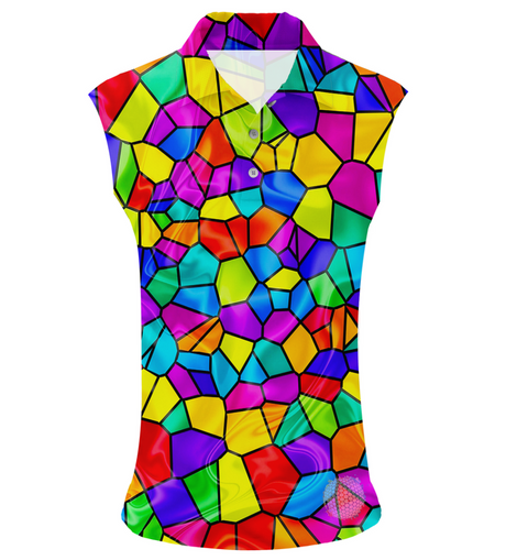 Stained Glass | Womens Sleeveless S Golf Shirts