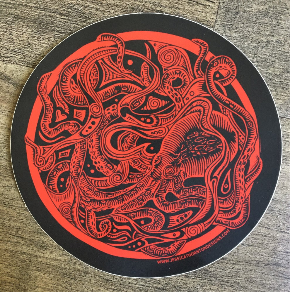 Red Octopus Sticker