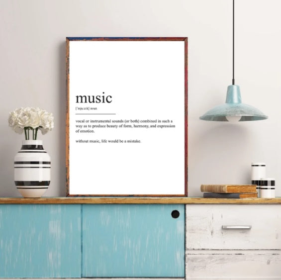 Music Definition Wall Art Music Vintage Acoustic Guitar Posters Prints (without frame) SJA