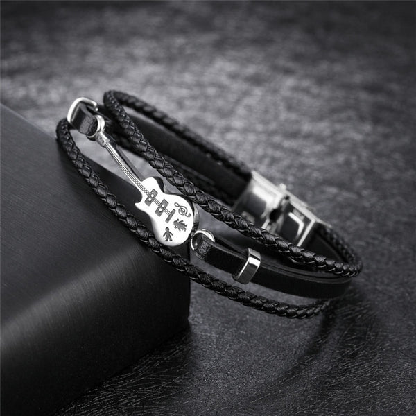 Genuine Leather Braided Guitar Bracelet SJA