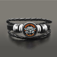 Route 66 Leather Bracelet Jewelry Button Snap Men Women (various models) SJA