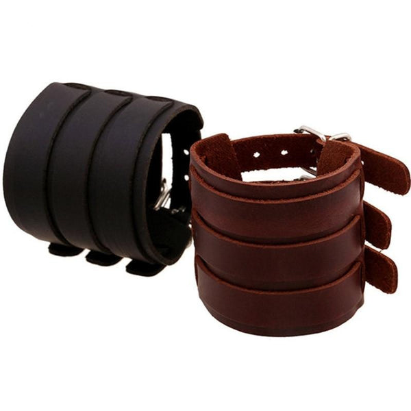 Wide Leather Bracelets Men Women Vintage Rock Jewelry (various styles) SJA9