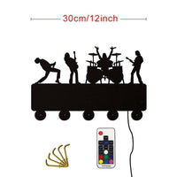 Band Theme LED Hooks Led Multi-color Changing W/ Remote Control Wall Art Hooks (30 cm/ 12 inches wide) SJA
