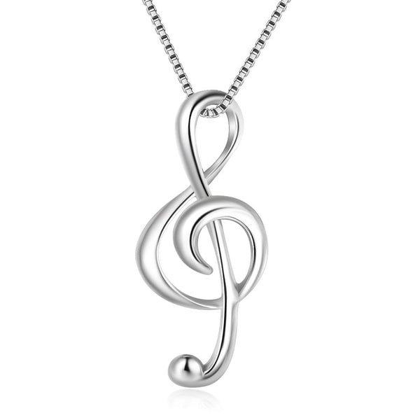 Treble Clef Necklace 925 Sterling Silver Music Note Necklace & Pendant