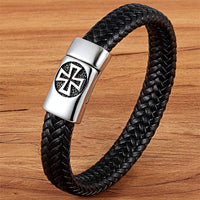 Cross Design Genuine Leather Bracelet Jewelry For Men SJA